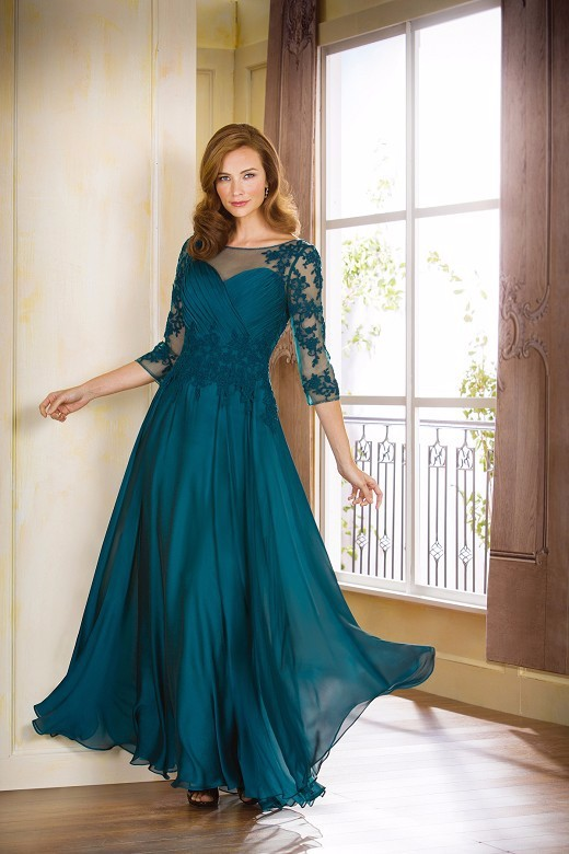 Appliques-Three-Quarter-Sleeves-Pleats-Lace-Mother-of-the-Bride-Plus-Dress-2015-Long-Plus-Size