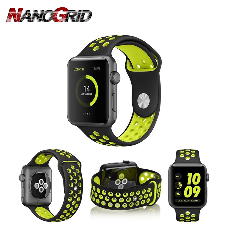 Colorful Soft Silicone Sport Band For 38mm Apple Watch Series3 2 42mm Wrist Bracelet Strap For iWatch Sports Edition Replacement jansin 22mm watchband for garmin fenix 5 easy fit silicone replacement band sports silicone wristband for forerunner 935 gps