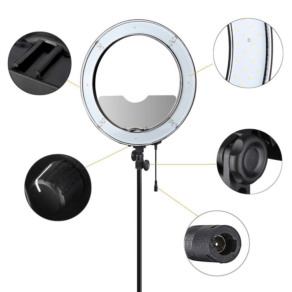 Fotopal Dim LED Fotoğraf Halka Işık Youtube Için Tripod Ayna Ile - Kamera ve Fotoğraf - Fotoğraf 2