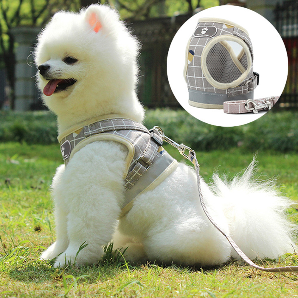 Soft Mesh Dog Cat Harness Set Breathable Puppy Vest For Small pet Medium Dogs Yorkie Teddy Reflective Walking Lead Leash sets in Cat Collars Leads from Home Garden