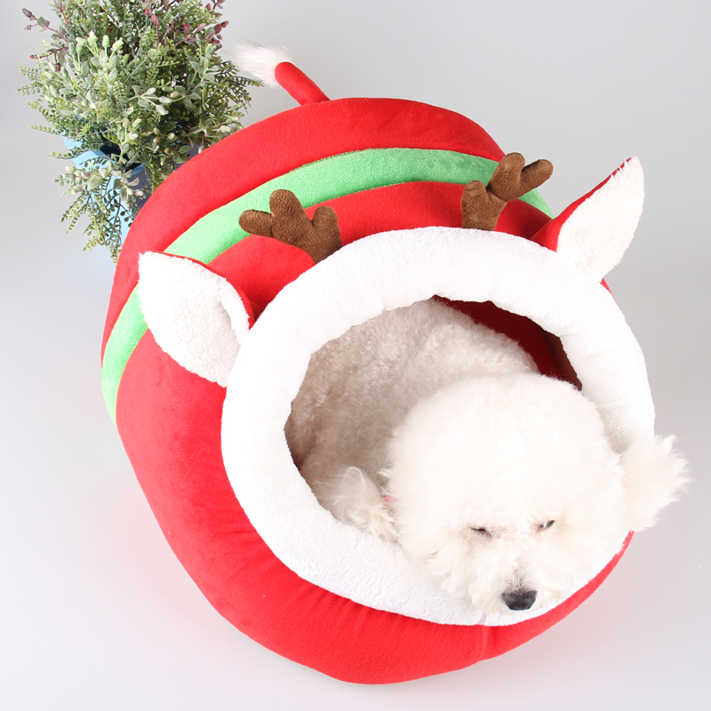 Cartoon dog bed for small dogs princess Pet Sleeping Bag Cat cave House warm soft Teddy kennel Christmas gift reindeer design