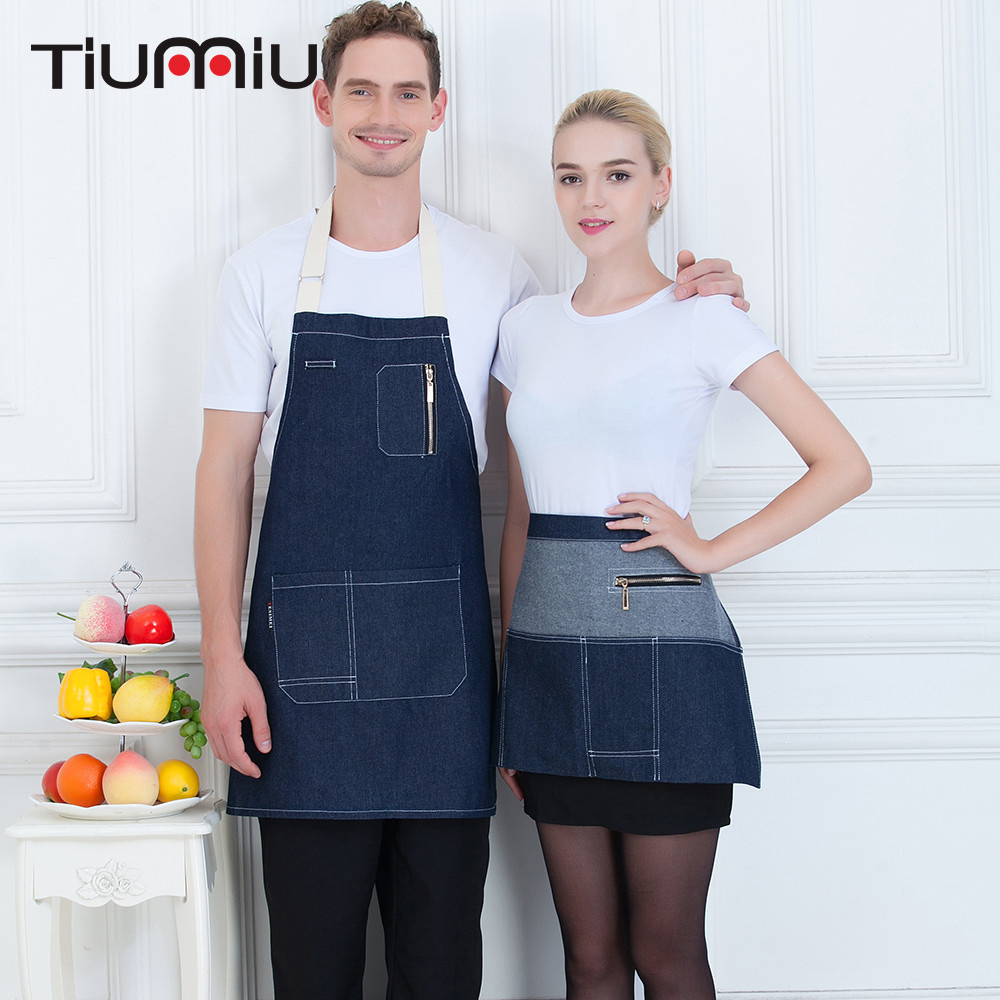 New Arrival Denim Aprons For Women Men High Quality Wholesale Unisex Kitchen Hotel Coffee Shop Bakery Chef Waiter Cleaning Apron