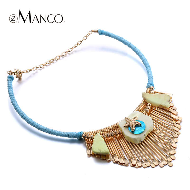 eManco Gold choker necklace alloy tassel necklace trendy jewelry ...