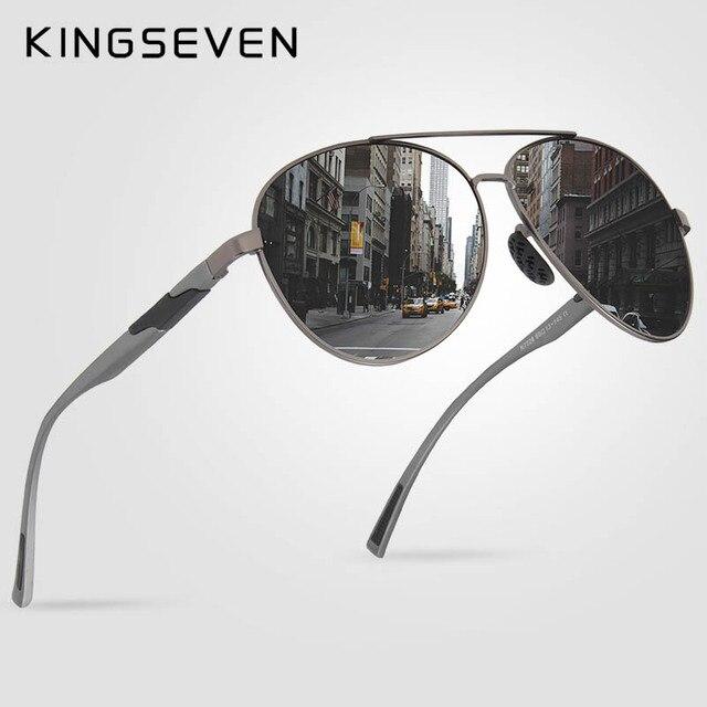 KINGSEVEN TASARıM Erkekler Klasik Polarize Güneş Gözlüğü Alüminyum Pilot güneş gözlüğü UV400 Koruma NF 7228
