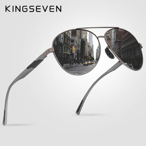 Image 1 - KINGSEVEN تصميم الرجال الكلاسيكية الاستقطاب النظارات الشمسية الألومنيوم الطيار نظارات شمسية UV400 حماية NF 7228
