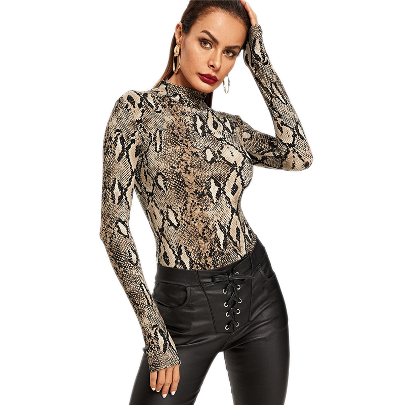 Snake Print, High Neck, Casual Bodysuit, Women's Long Sleeve Bodysuit, Fashion Vintage Bodysuit 17