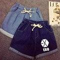 2016 EXO chanyeol sehun bakhyuns com um novo complexo de verão cintura elástica laço ondulação shorts jeans Limitada frete grátis
