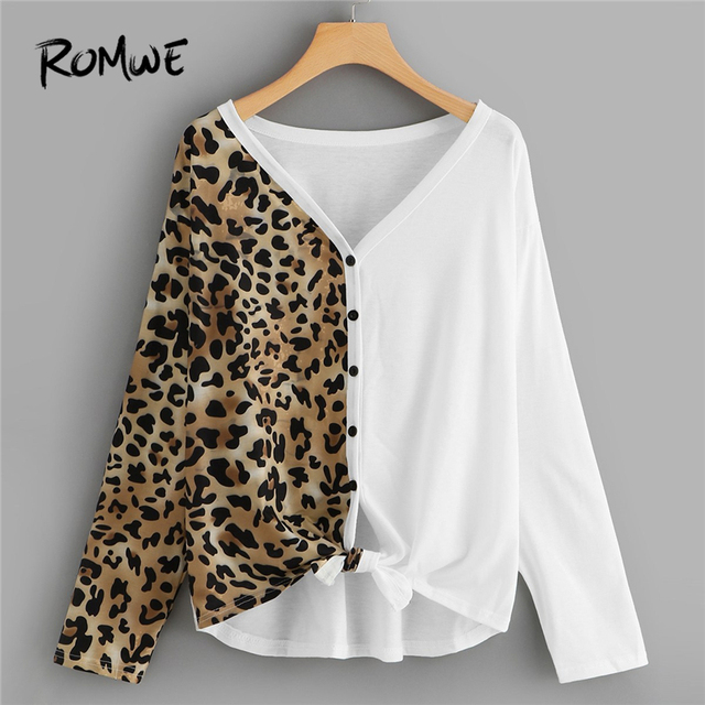 cf9ed8c71 ROMWE Knot Leopard Print Tee Long Sleeve T-Shirt Women Autumn Casual Womens  Clothing Spring V Neck Button Placket Tops