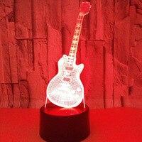 Guitar LedRemote Touch Switch 7 Color Change 3d Lamp Visual Creative Gift Desk Lamp Deco Enfant
