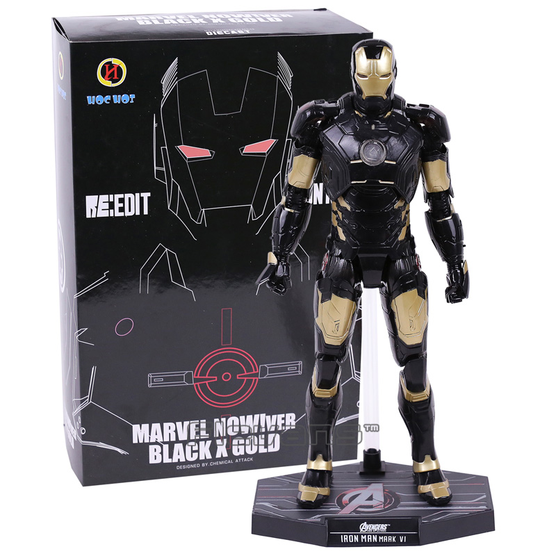 цена на HC Iron Man Mark MK 42 BLACK x GOLD PVC Action Figure Collectible Model Toy with LED Light 28cm