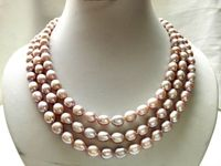 Wholesale Fashion 18inch 3 Strands Genuine Cultured Natural Purple Pink Rice Shape Freshwater Pearl Necklace 8