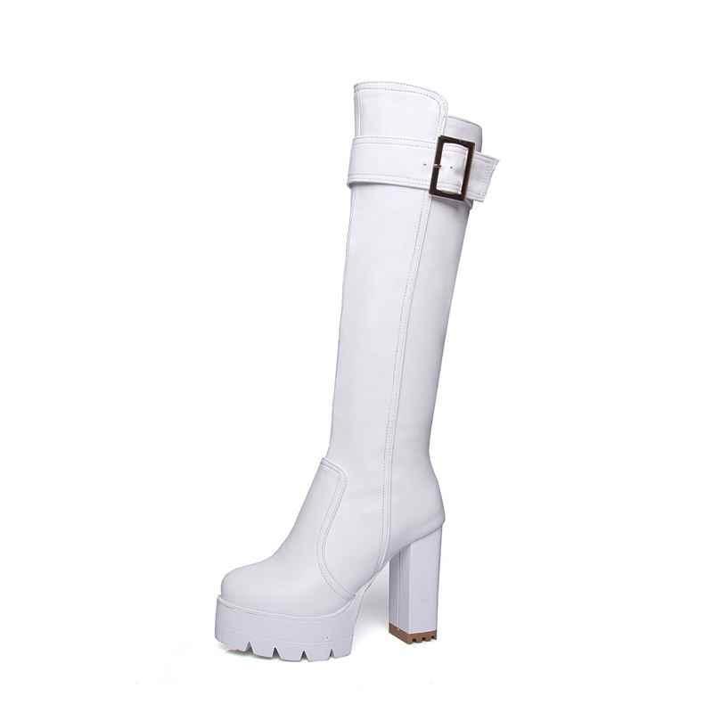 EGONERY mode 11,5 cm Super Hohe Frühling winter lange knie hohe reitstiefel party sexy frau schwarz PU Plüsch Hochzeit schuhe Weiß