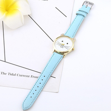Women Watches Girl Quartz Cute Cat Face Lovely Wristwatch Female Fashion Casual Student Cartoon Ears Leather Relogio