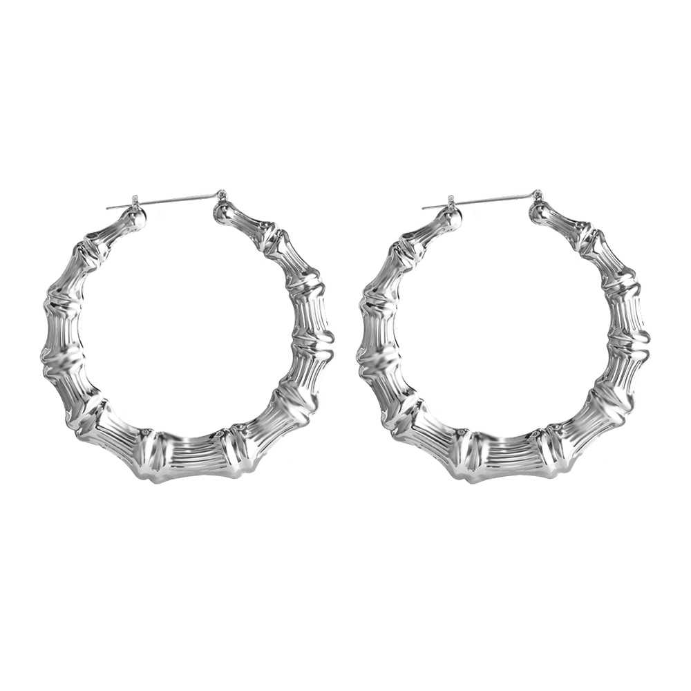 787dd6492c235 SOHOT Trendy Classic Bamboo Hoop Earrings European Popular Gold Silver  Color Hyperbole Jewelry Statement For Women Wedding Gift