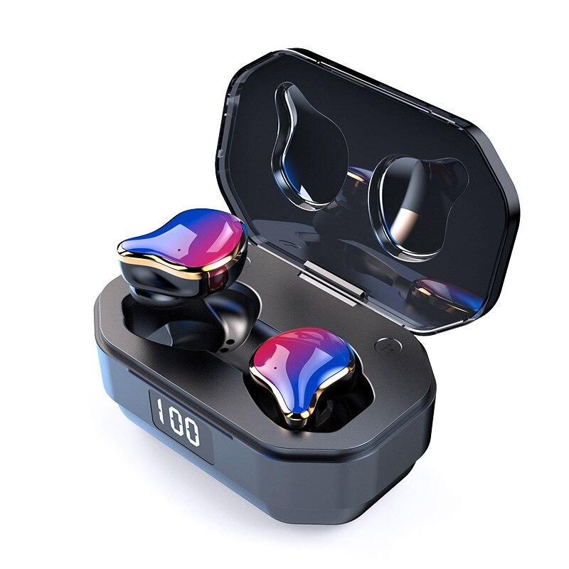 2019 New Fingerprint Touch 5.0 TWS Double Ear Wireless Bluetooth Earphones With metal charging warehouse Digital Display X12