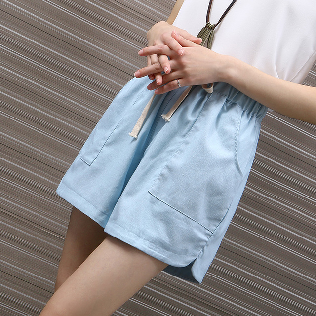 Candy Color Summer Linen Shorts For Women High Waist Pocket Palazzo Shorts Plus Size Casual Wide Leg Shorts