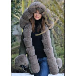Image 4 - Tatyanaผู้หญิงจริงขนสัตว์Parka Coat Foxขนสัตว์และCuffผู้หญิงParkasหนาฤดูหนาวWarm Natural Fur JacketยาวFoxขนสัตว์