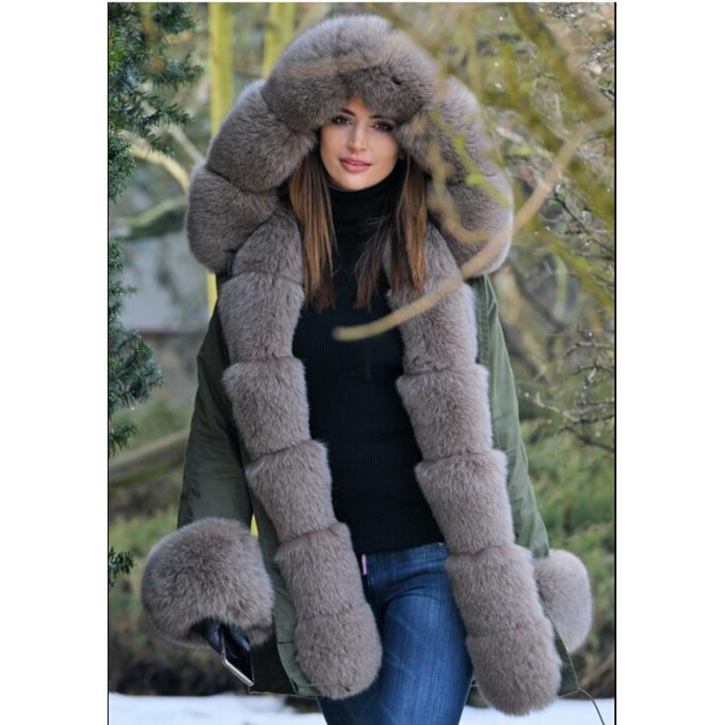 Image 4 - Tatyana Women Real Fur Parka Coat Fox Fur Collar And Cuff Women's Parkas Thick Winter Warm Natural Fur Jacket Long Fox Fur Coats-in Real Fur from Women's Clothing