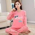 Venta caliente 2017 casual Moda de nueva versión modelos de otoño de las mujeres Pijamas de seda de la leche delgada rosa Pijama traje del envío libre