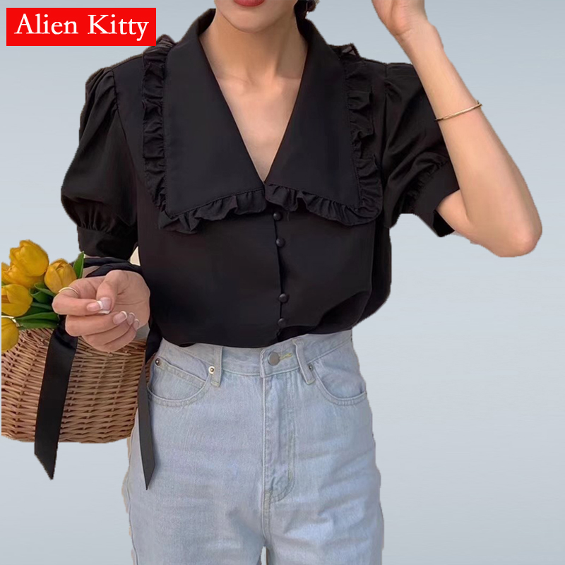 Alien Kitty Hot Sweet Loose Summer 2019 Elegant Single Breasted Peter Pan Collar Women All Match Fresh Casual Half-Sleeved Shirt