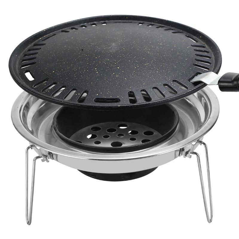 Бездымный гриль с древесным углем круговой антипригарный сковорода бытовой противень для выпечки открытый барбекю из нержавеющей стали По