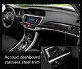 Caja de almacenamiento de coches guantera ajuste decorativo de acero inoxidable 4 unids para honda 2014 2015 2016 accord accesorios volante a la izquierda