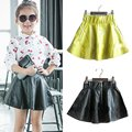 Baby Kids Girls PU Faux Leather Elastic Skirts Tutu Skirt Autumn Short Skirt