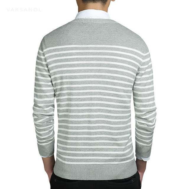 Men's Sweater Pullover Coat Long Sleeve Standard Thick Striped O Neck sweater men clothing Autumn Slim Knitted Top