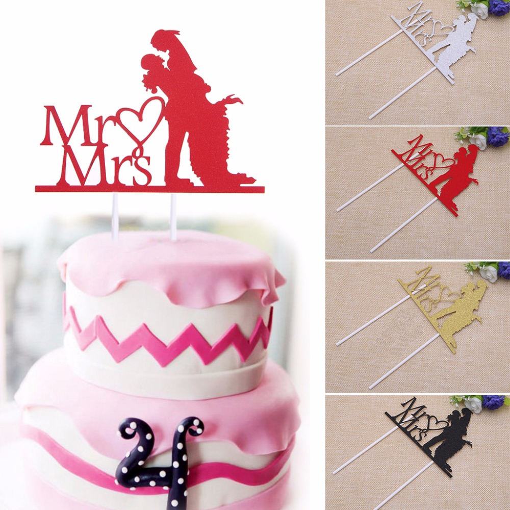 Mr and Mrs Cupcake Cake Topper Glitter Engagement Party Wedding ...