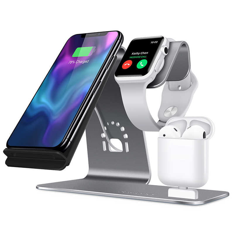 Soporte de cargador inalámbrico rápido 3in 1 para iPhone Xs/Apple Watch/Airpods carga inalámbrica para iPhone XsMas/Xr/8 plus Samsung S9 S8