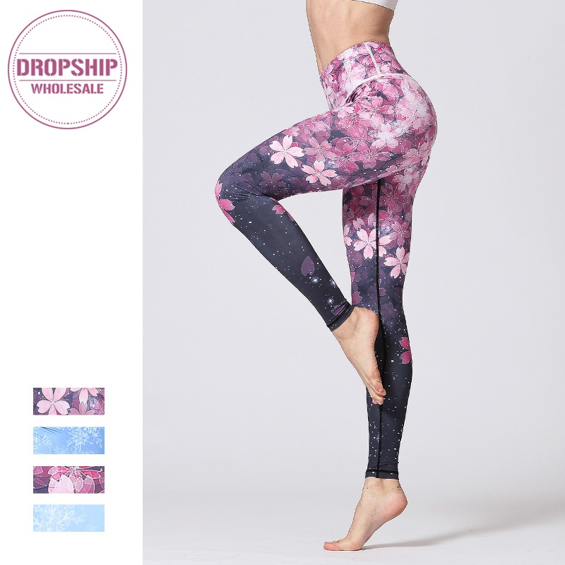 Women Fitness Yoga Pants Slim High waist Sport Leggings Gym Elastic Romantic Printed Long Tights for Running Tummy Control trendy colorful printed high waist wide leg pants for women