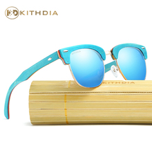 Kithdia Brand Polarized Lens Blue Wooden Frame Sunglasses / Bamboo Sunglasses and Support DropShipping / Provide Pictures #KD035 fashionable blue polarized lens bamboo frame sunglasses