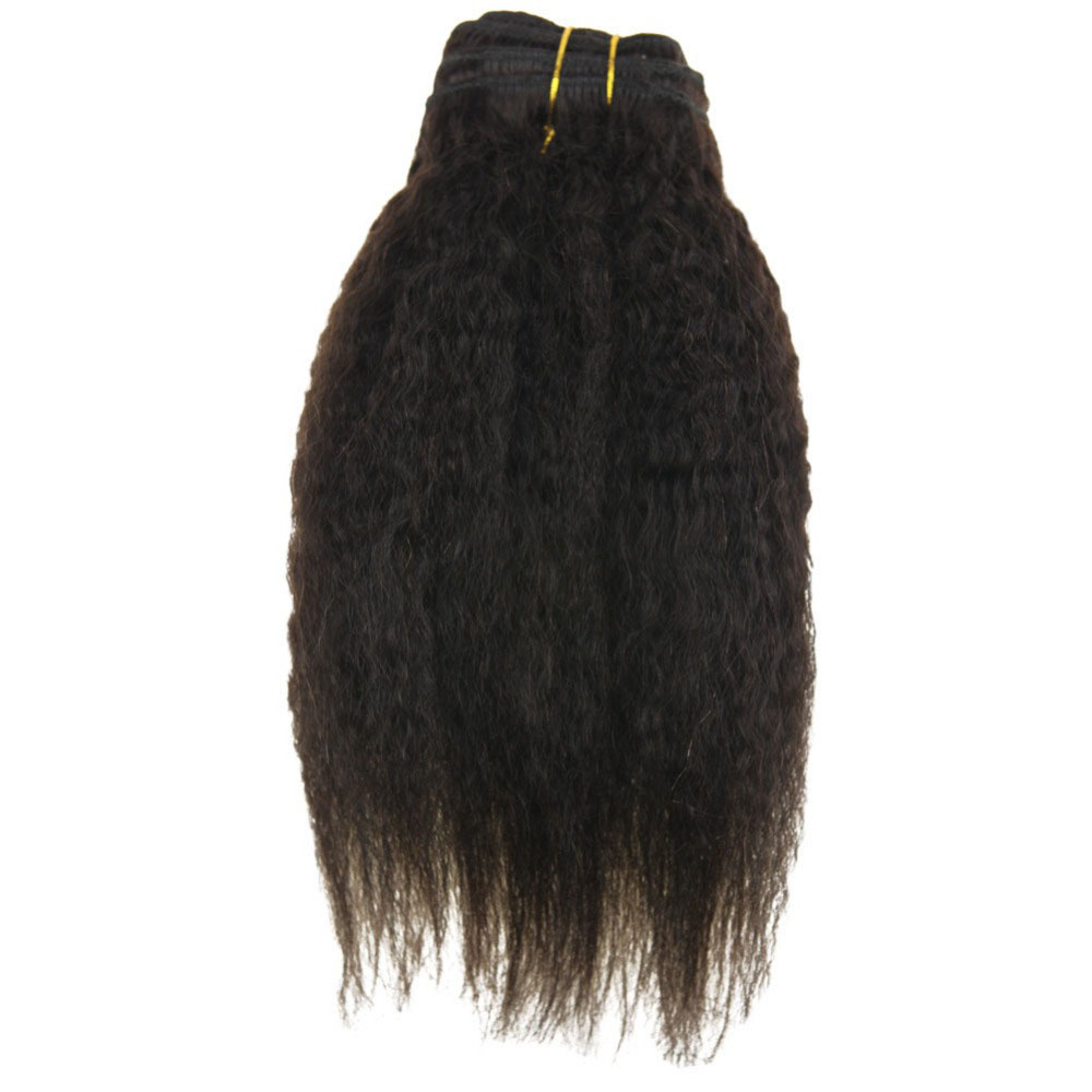 Moresoo Kinky Straight Clip In Human Hair Extensions 100% Brazilian Remy Hair 7Pieces 100Gram Natural Black #1B