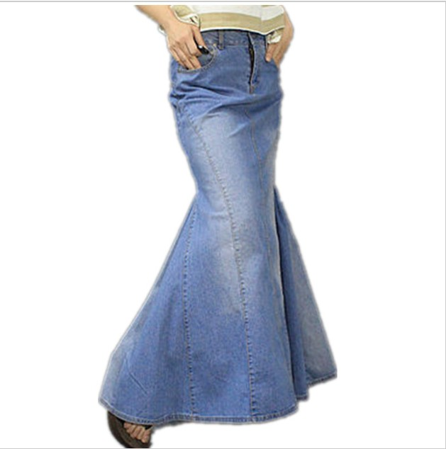 60b364a2e1 European Spring Summer Jeans skirt Fashion Long Denim Skirt For Women Slim  long Mermaid skirt High Waist maxi Skirt plus size
