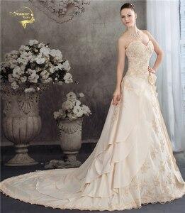 Image 4 - Женское свадебное платье с аппликацией из бисера, атласное ТРАПЕЦИЕВИДНОЕ кружевное платье цвета шампанского с аппликацией, лето 2020