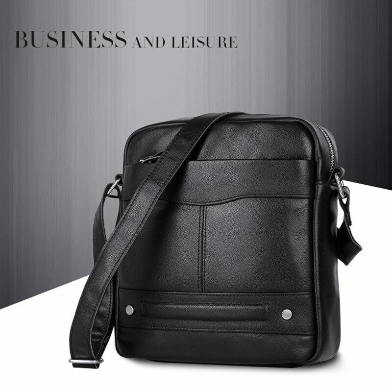 Genuine Leather New Style Popular Men 39 s Shoulder Bag Black Color Fashion Unique Style Crossbody Bag 1022A