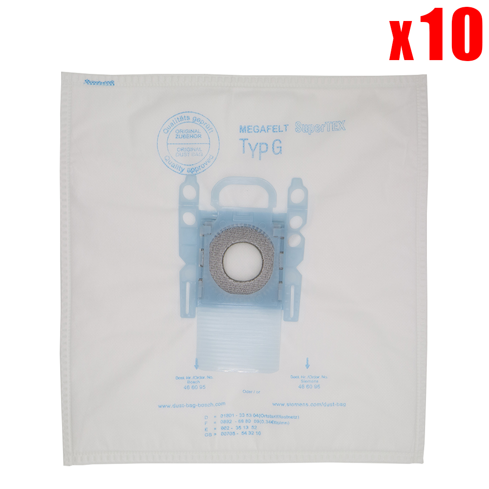 10 Pack Vacuum Cleaner Dust Bag Replacement For Bosch Microfibre Type G GXXL GXL MegaAir SuperTex BBZ41FGXXL Vacuum Cleaner Part