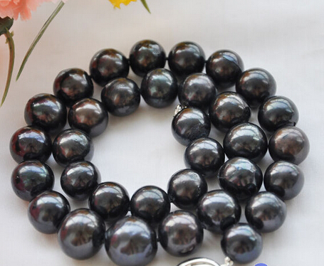 купить Hot sale Free Shipping>>>>>HUGE REAL 18 16mm ROUND black freshwater cultured PEARL NECKLACE недорого