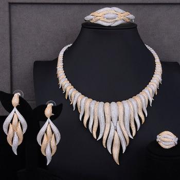 GODKI Super Luxury glacier Tassels 4PCS African Necklace Zircon Jewelry Sets For Women Wedding Indian Nigerian Party Jewelry Set 3