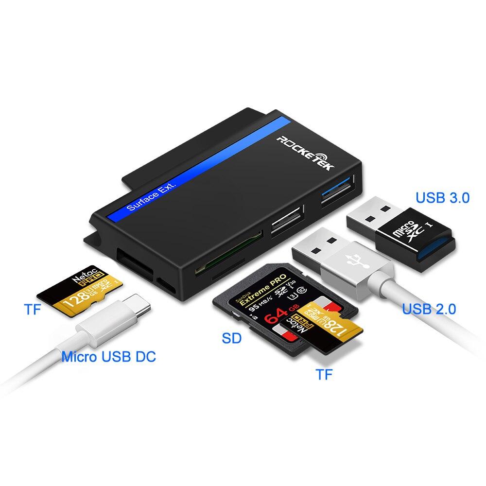 Image 2 - Rocketek USB type C 3,0 или 2,0 адаптер для чтения карт памяти для SD/TF micro SD Microfoft Surface go Hub компьютерные аксессуары-in Считыватели карт памяти from Компьютер и офис