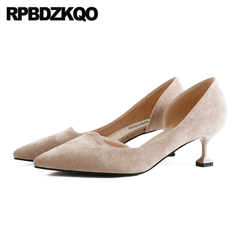 Suede Peach Office Shoes Women Kitten Size 4 34 Sandals High Heels Court Medium 33 Pointed Toe Patent Leather Nude Elegant Pumps patent leather 2017 pumps size 33 pointed toe office work formal plus red low 4 34 dress shoes heels yellow high women court