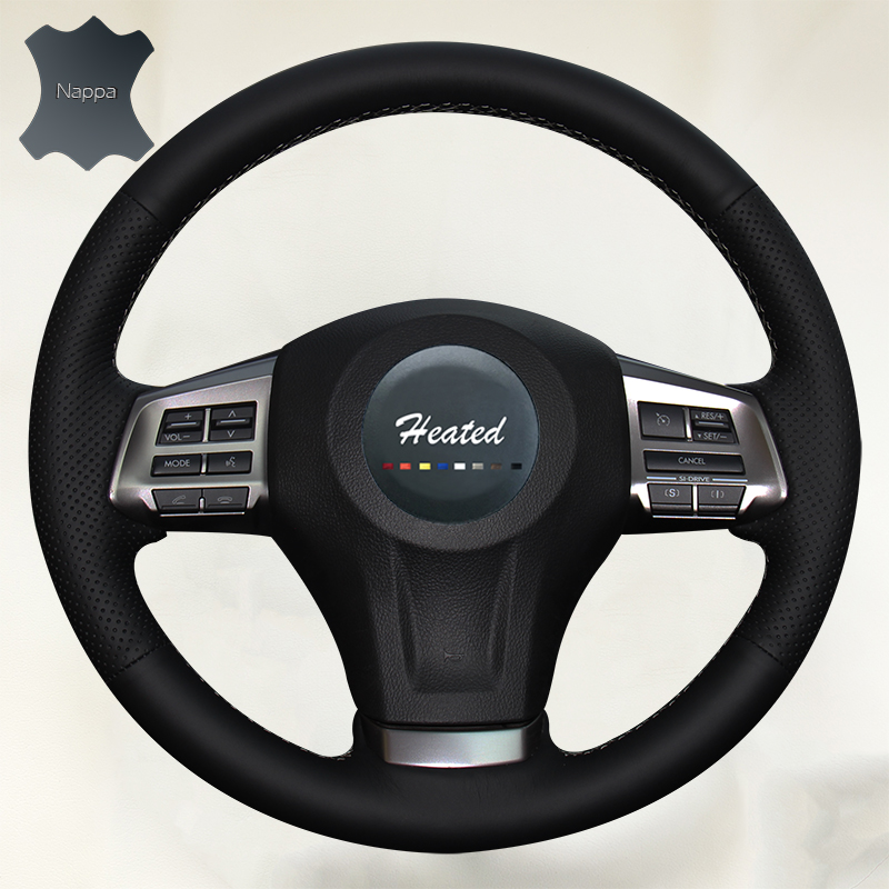 Nappa Leather Braid on the Steering Wheel Cover for Subaru Forester 2013 2015 Legacy 2013 2014