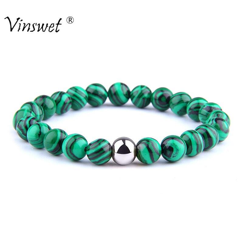 Men Women Bracelets Malachite Beaded Bracelets for Women Men Stone Bracelets Yoga Jewelry Gifts