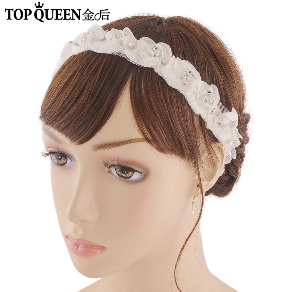 TOPQUEEN H261 Hot sale Stock 100% pure handmade thin headband Diamond accessories and handdress embroidered bridal sash
