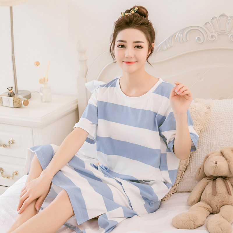 Yidanna women   nightgown   cotton   sleepshirt   striped sleep clothing short sleeved sleepwear female pyjamas girls nightdress summer