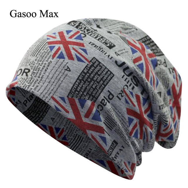 04b9c8f8 Slouchy Hat Spring Skullies Fashion Hats Classic Flag Print Casual Caps 100%  Cotton Female Hat Women Men Sleeve Beanie Cap
