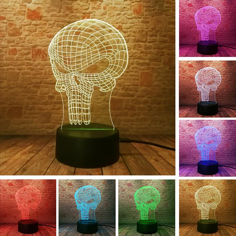 Punisher Figure Model 3D Illusion NightLight LED Colourful Light Glow in the Dark Nihgt Desk Lamp Home Decor Toys Holiday gift