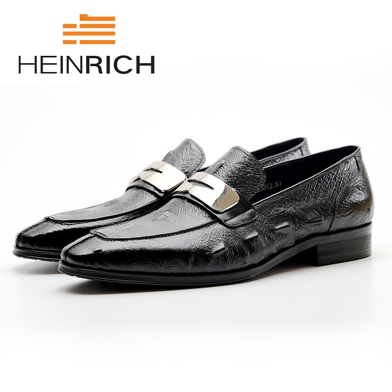 HEINRICH Men's Formal Wedding Shoes Luxury Men Business Dress Italian Leather Shoes Men Loafers Pointed Toe Slip-On Shoes mycolen men formal shoes luxury business dress shoes full leather pointed toe loafers men wedding leather shoe black moccasins