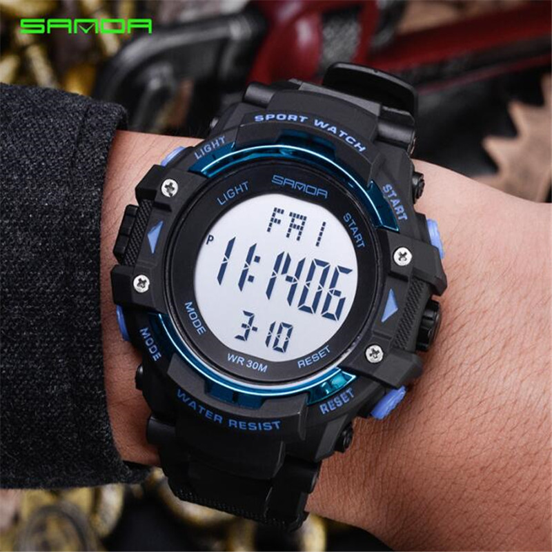 SANDA Chronograph Sports Watches Men LED Digital Watch Military Waterproof Wristwatches Alarm Clock Male G Watches oulm military digital dual time watch men leather strap chronograph calendar alarm waterproof led electronic wrist watches 2018