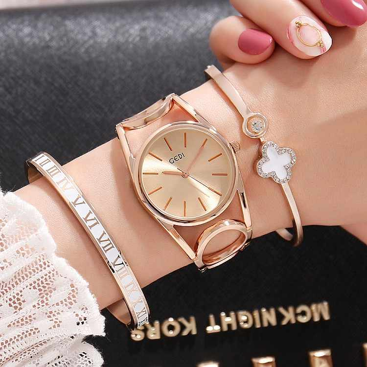2019 GEDI Fashion Rose Gold Women Watches Top Luxury Brand Ladies Quartz Watch 3 Pieces Girl's Watch Relogio Feminino Hodinky